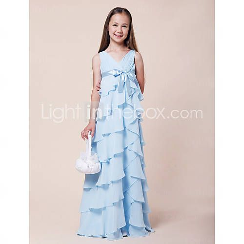 [USD $ 99.99] A-line V-neck Floor-length Chiffon Junior Bridesmaid Dress