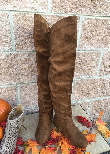 Suede flat boots. Slouchy shaft, hits right above the knee. - Flat soles