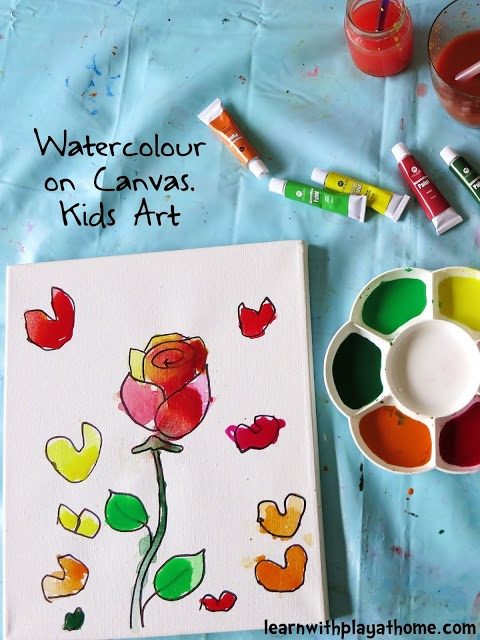 Watercolour on Canvas. Kids Art