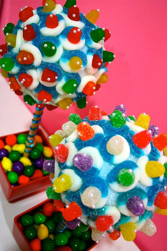 Rainbow Candy Land pieza central del Topiary Tree, Candy Buffet decoración, Candy arreglo boda, Mitzvah, Favor de partido, dulces de creación, arte comestible