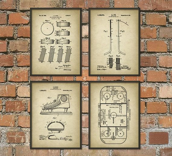 Ice Hockey Patent Print Set Of 4 - Ice Hockey Rink - Ice Hockey Puck - Ice…