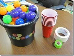 Fraction Basketball - roll a die to see how many times each person will shoot a ball into a cup, then record shots made as a fraction.  Person with the biggest fraction wins. LOVE!