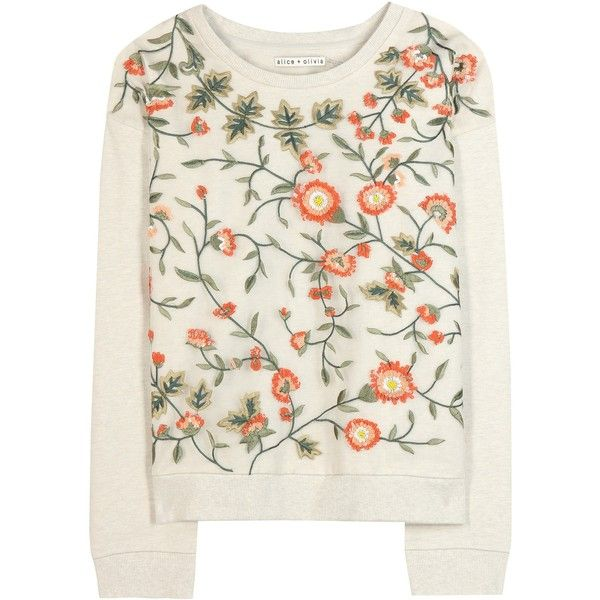 Alice + Olivia Chiara Embellished Cotton Sweatshirt (€165) ❤ liked on Polyvore featuring tops, hoodies, sweatshirts, sweaters, shirts, sweatshirt, beige, beige top, cream shirt and white shirt