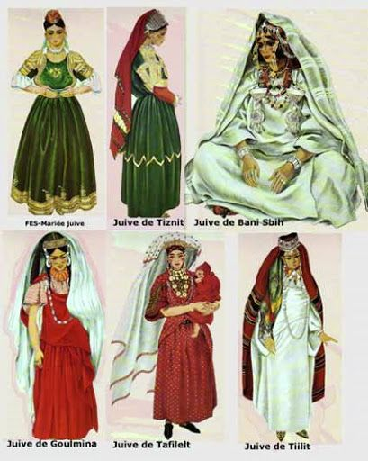 Jewish women's headcoverings from the different region of Morocco