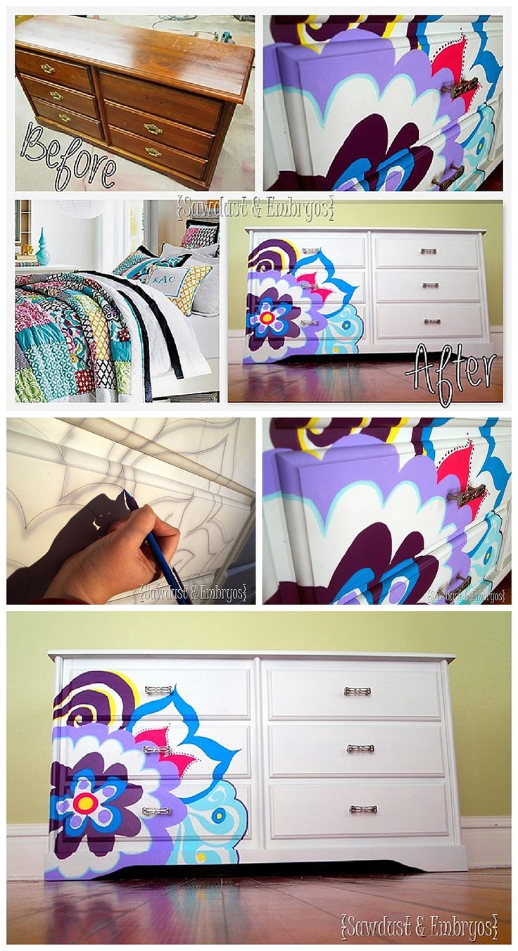 Projector Project DIY Step By Step Tutorial - Use an overhead projector to paint beautiful designs on furniture or to create decorative artwork!  {Reality Daydream}