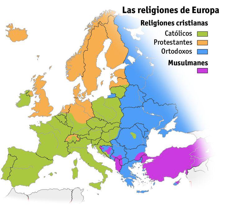 Mapa que refleja el reparto de las religiones cristiana (católicos, protestantes, ortodoxos) y musulmana en Europa.