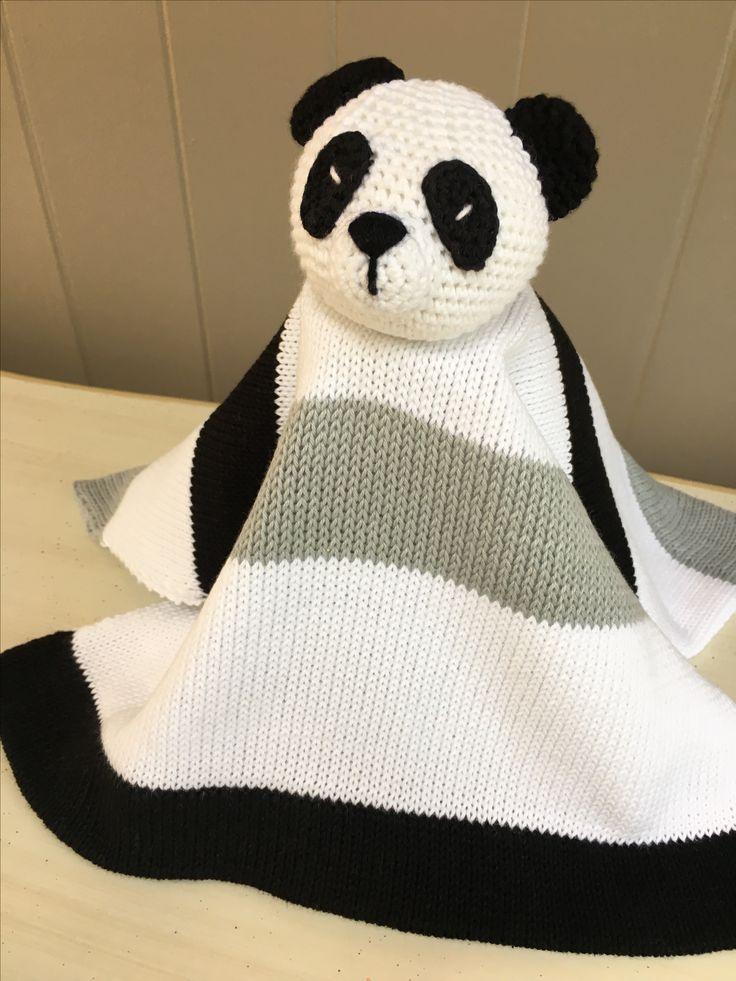 Panda cotton knit and crochet lovey baby blanket. 100 % cotton .Machine washable.$ 30. www.thebabyblanketlady.com