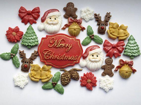 Christmas Edible Cupcake Cake Toppers Fondant Merry Christmas