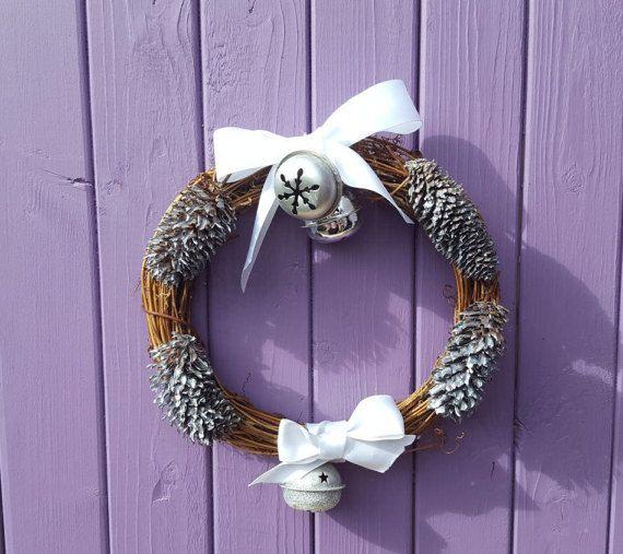 Silver Yule Wreath Pine Cones Yuletide Door Hanger Festive