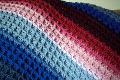 waffle stitch. Supposedly as easy & fast as granny squares, but thicker w no holes.  Will have to do this next time I make hubby an afghan -- I tend to go for granny squares but he keeps asking me  for a solid one. Wonder if I could do it in Chicago Cubs colors...