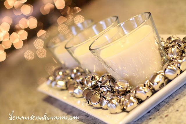Jingle bells & candles as a centerpiece for Christmas