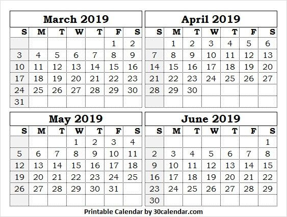 photo relating to 4 Month Calendar Printable referred to as 4 Thirty day period Calendar March June 2019 March 2019 Calendar