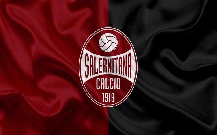 Download wallpapers US Salernitana 1919, 4k, Serie B, football, silk texture, emblem, silk flag, logo, Italian football club, Salerno, Italy, Salernitana FC