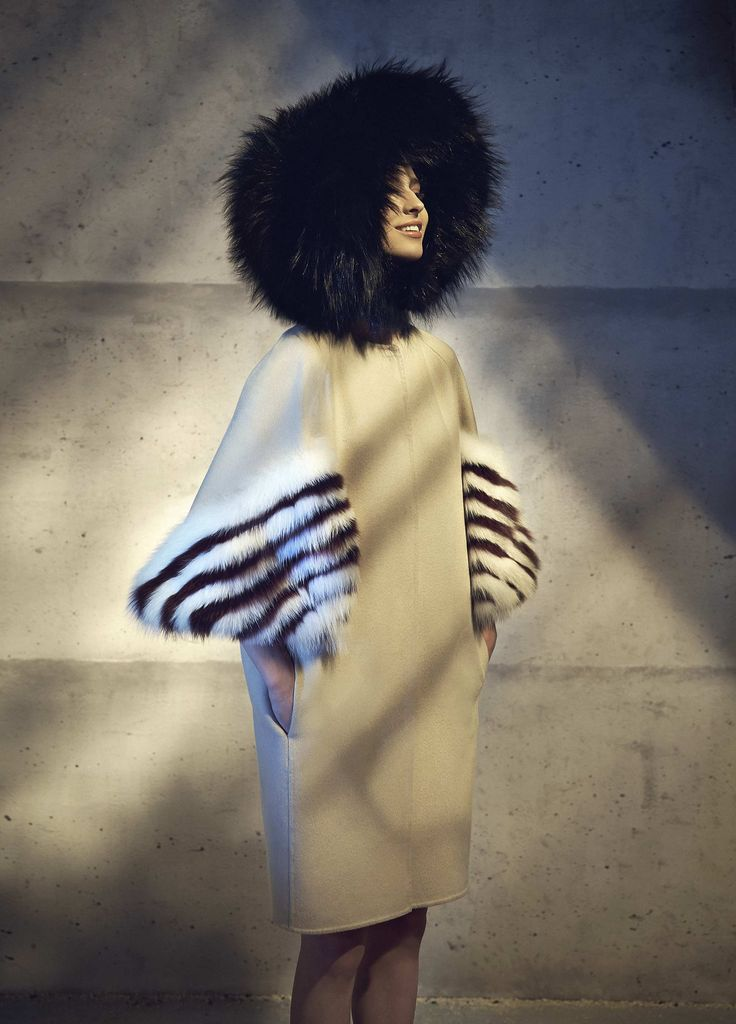 FENDI F/W 14 Fur Collection | Look 30 | Striped Fox Fur-Sleeve Cashmere Coat | Natural and dyed fox (Finland) striped fur 3/4 sleeves | $6,250 @ Neiman Marcus