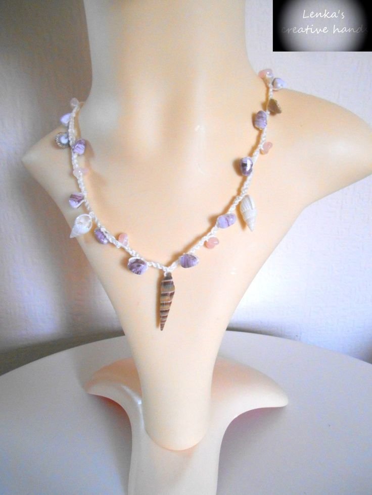 Boho real shell necklace-NEW, Crochet beaded necklace, Chic beach jewellery, Handcrafted jewellery, Gift for her by Lenkascreativehands on Etsy