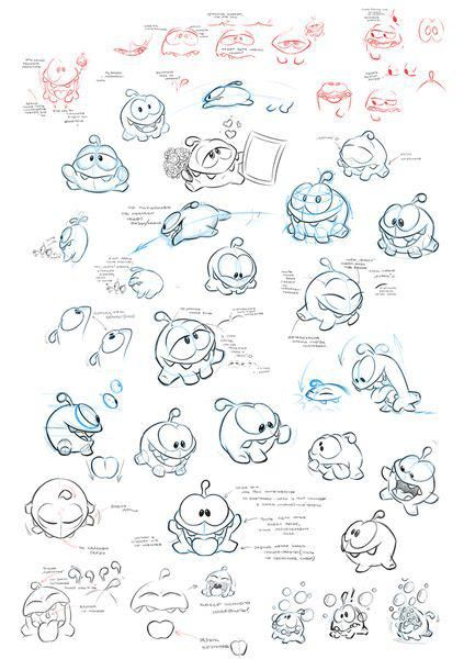 Om Nom from Cut the rope by ZeptoLab character sketches