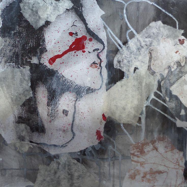 Irina Schuvaloff, The target of bitterness, 2016, mixed media on MDF-board, 50 cm x 50 cm