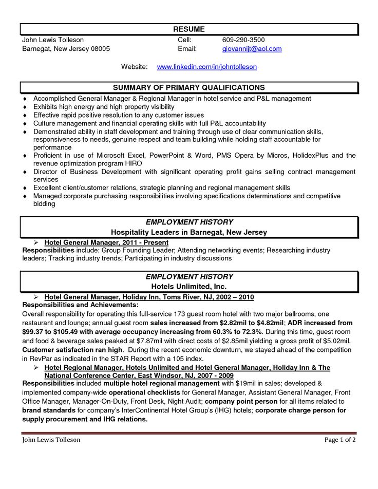 hotel manager resume and get ideas create your with the best club - hospitality resume