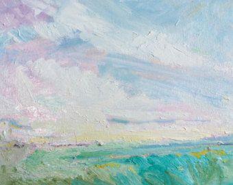 Original marsh landscape painting, oil, acrylic, Core banks 3
