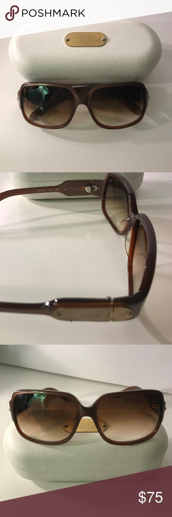 Brown Chloe Sunglasses 😎 Chloe brown sunglasses. Authentic. Comes with a case and lens cleaner. Square-ish lens. Shows some wear on the side label as seen in pictures. Chloe Accessories Sunglasses
