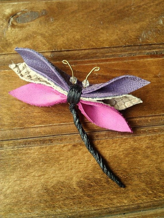 Butterfly Leather Pin Colorful Butterfly Leather by MikaMikaBags