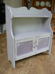 Annie Sloan 'Paloma' and 'Emile' on nice little wall cabinet, the inside is 'Old White' £99