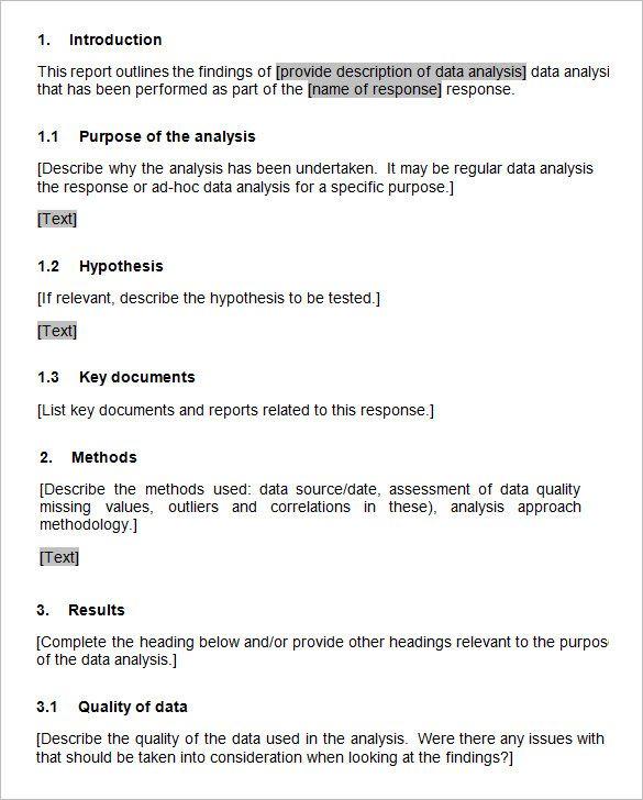 Data Analysis Report Template 2 Data Analysis Report Template Analysis