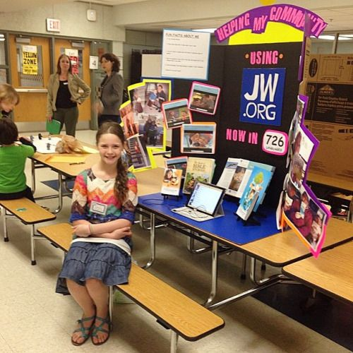 """This is my10 year old daughter,Summer,fromUSA.Her school held an expo called""""Show what you know!""""Summer's theme was""""Helping my community using JW.Org""""Her display was set up in the school lunchroom and at least120kids and parents stopped by to see her display and many engaged her with questions.We played Caleb and Sophia videos and showcased our children/teen publications.Her display will now be set up in the school library for the rest of the week!We thank Jehovah"""