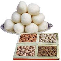 1 Kg (Gross Weight) Rosgulla from Haldiram / Reputed Sweets Shop with Assorted Dry Fruits (1/2 kg) consisting of Cashew,Almond,Pistachhio and Raisins.