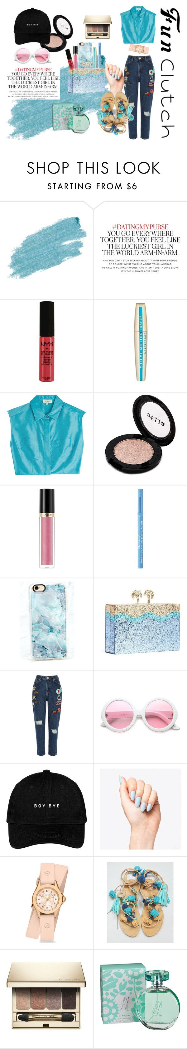 """In Yo Clutch!"" by blackheaven on Polyvore featuring Jane Iredale, Kate Spade, NYX, L'Oréal Paris, Isa Arfen, Stila, Revlon, Too Faced Cosmetics, Casetify and River Island"