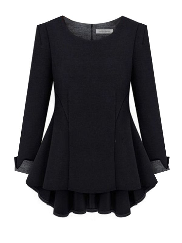 Plus Size O-Neck Solid Long Sleeve Top & Tops - at Jollychic