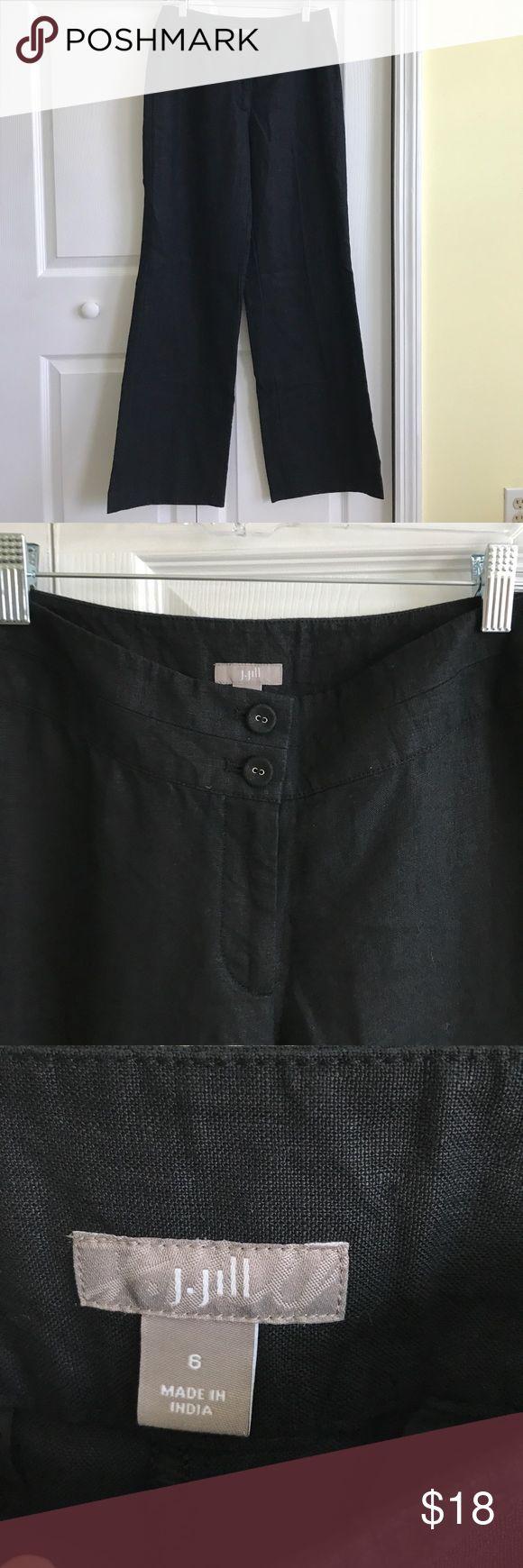 EUC J.Jill black linen pants EUC J.Jill wide leg black linen pants. Two back pockets. J. Jill Pants
