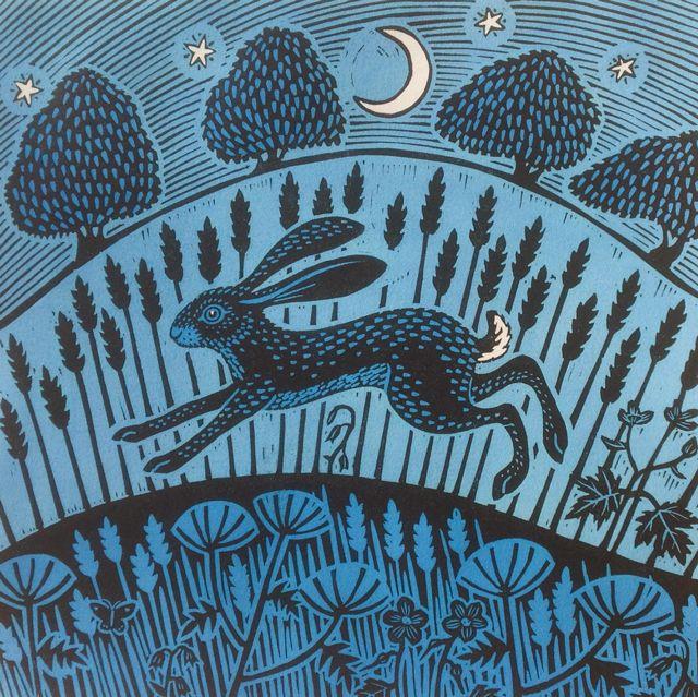 'Moonlight Hare' By Printmaker Gerard Hobson. Blank Art Cards By Green Pebble. www.greenpebble.co.uk