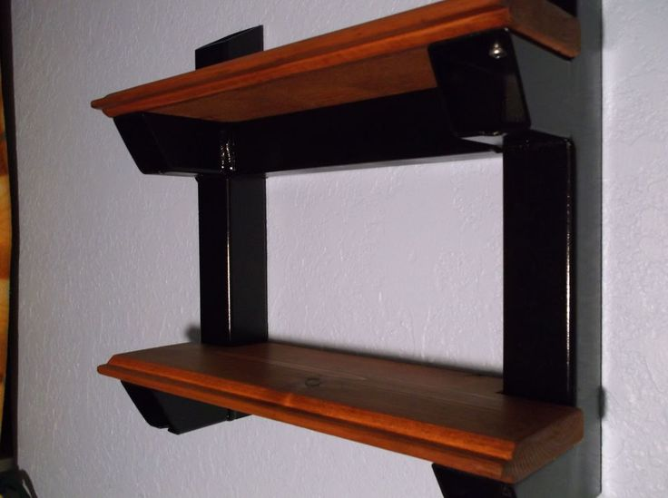 "Industrial Style Handmade Shelves- Wall Hanging Black Steel Wood USA 12x12"" New #rguileindustrial #Americana"