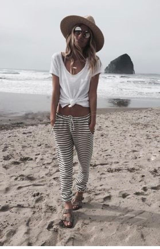 """Sunshine hat, shades, t-shirt, striped-bottoms walking in sexy sandals on a hot sand. """"Wow"""""""