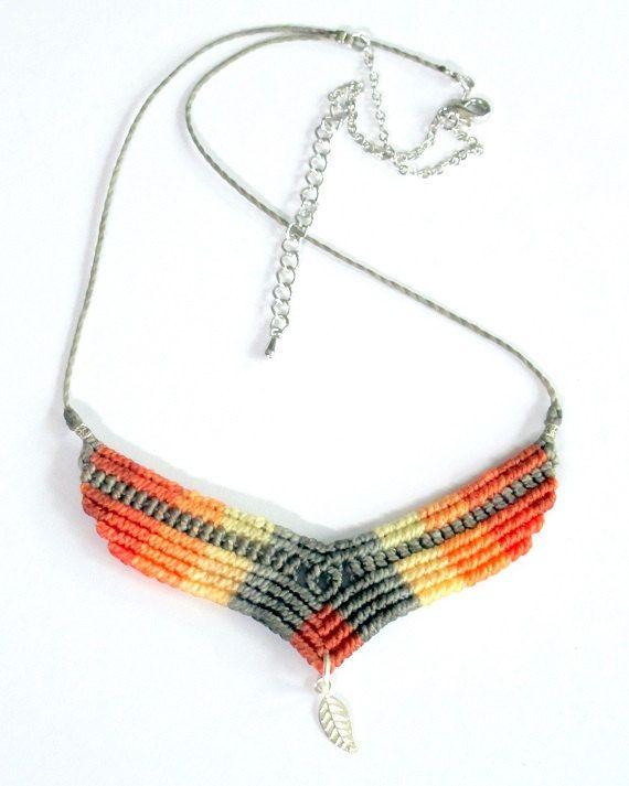 macrame necklace boho bohemian hippie micro by Mediterrasian