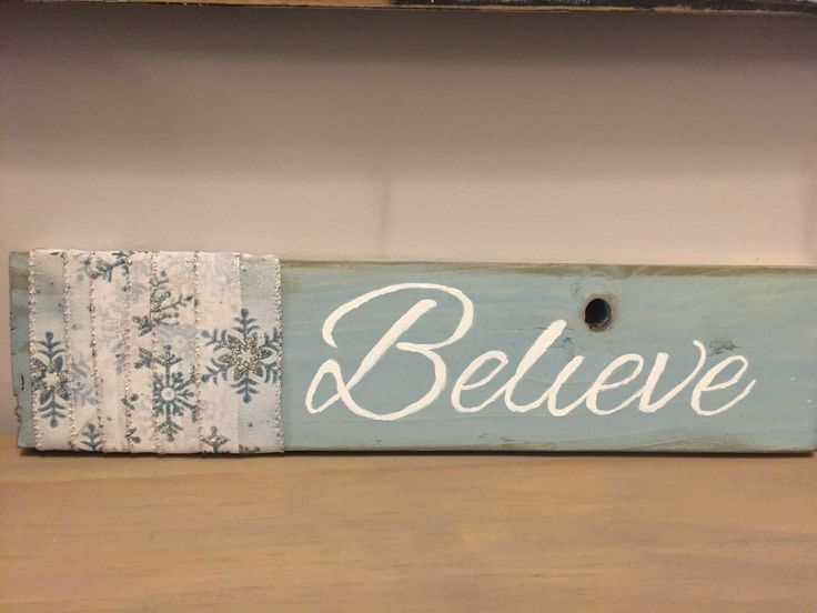Believe, Christmas sign, handpainted embellished pallet board sign by Ajminteriors on Etsy
