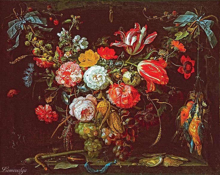 Миньон Абрахам Гирлянда из цветов, фруктов и дичи