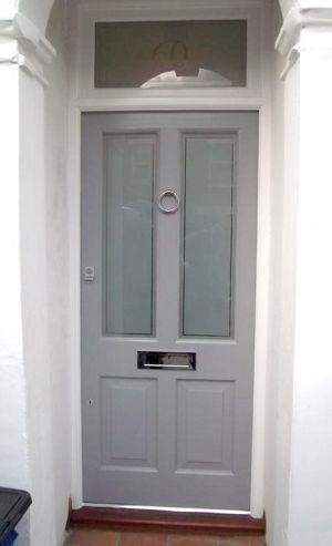 Victorian front door. Like the glass with the number in it above the door too.