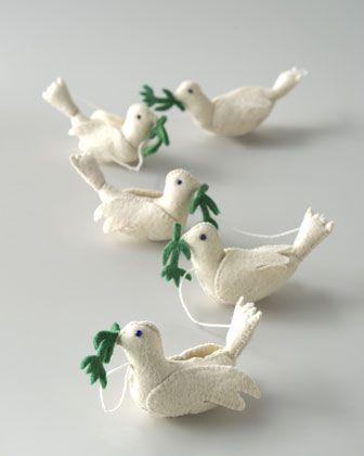 felt birds (Martha stewart had a DIY) just alter slightly - could make ornaments or string together and make a garland