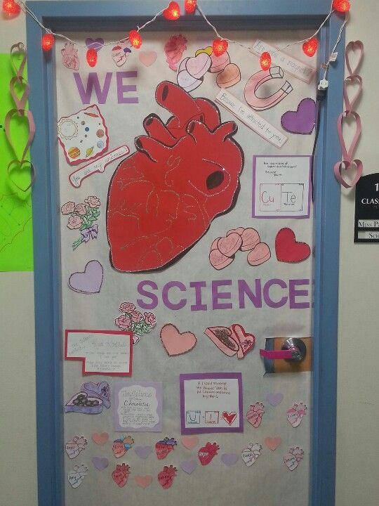 Valentine's and Science themed door decorations