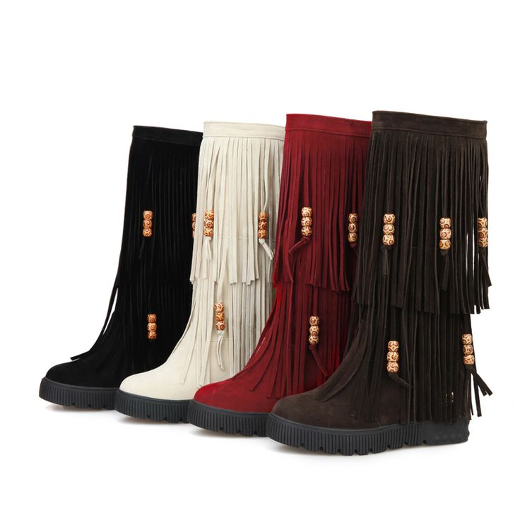 >> Click to Buy << New 2015 Winter Fashion Mid Calf Women Tassel Fringe Boots Black Red Brown Sexy Lady Wedge Shoes AY906-2 Plus Big Size 10 44 #Affiliate