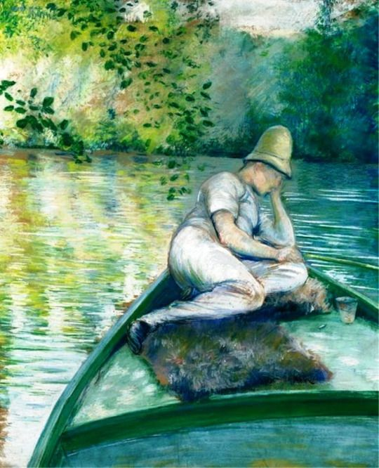 Gustave Caillebotte - Canotier sur l'Yerres, 1877. Pastel and gouache on paper