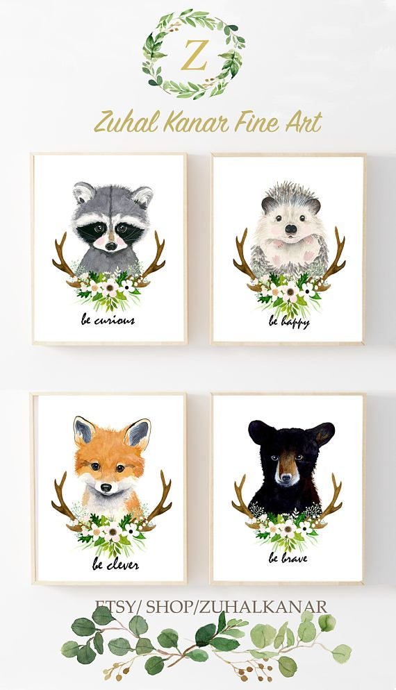 Woodland animals print set of 4, Nursery custom name, custom letter, nursery room design, baby shower idea, baby, baby girl, animal painting