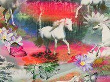 digitaal bedrukte tricot: witte paardjes in een droomlandschap! - kleurenmix