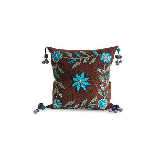 NOVICA Fair Trade Floral Wool Brown and Blue Cushion Cover ($81) ❤ liked on Polyvore featuring home, home decor, throw pillows, brown, cushion covers, pillows & throws, blue home decor, floral throw pillows, blue home accessories and flower stem