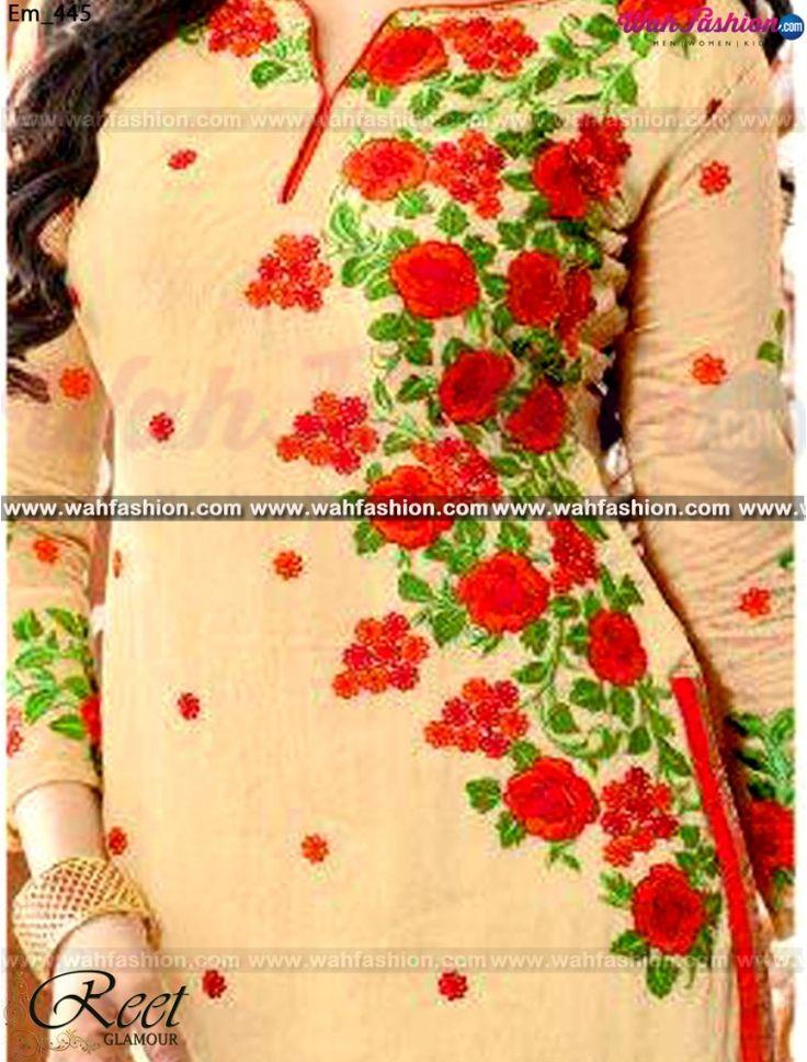 Captivating Cream And Orange Embroidered Churidar Suit
