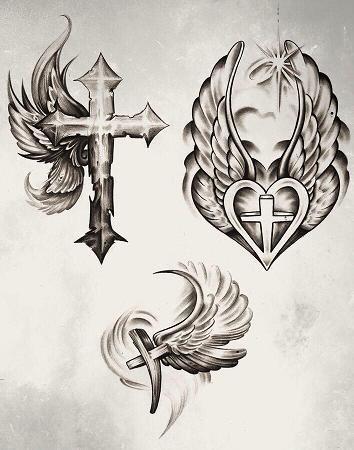 Download Free Cross Wing Designs by ~KingsArt 1 on deviantART i like the top left ... Tattoo to use and take to your artist.