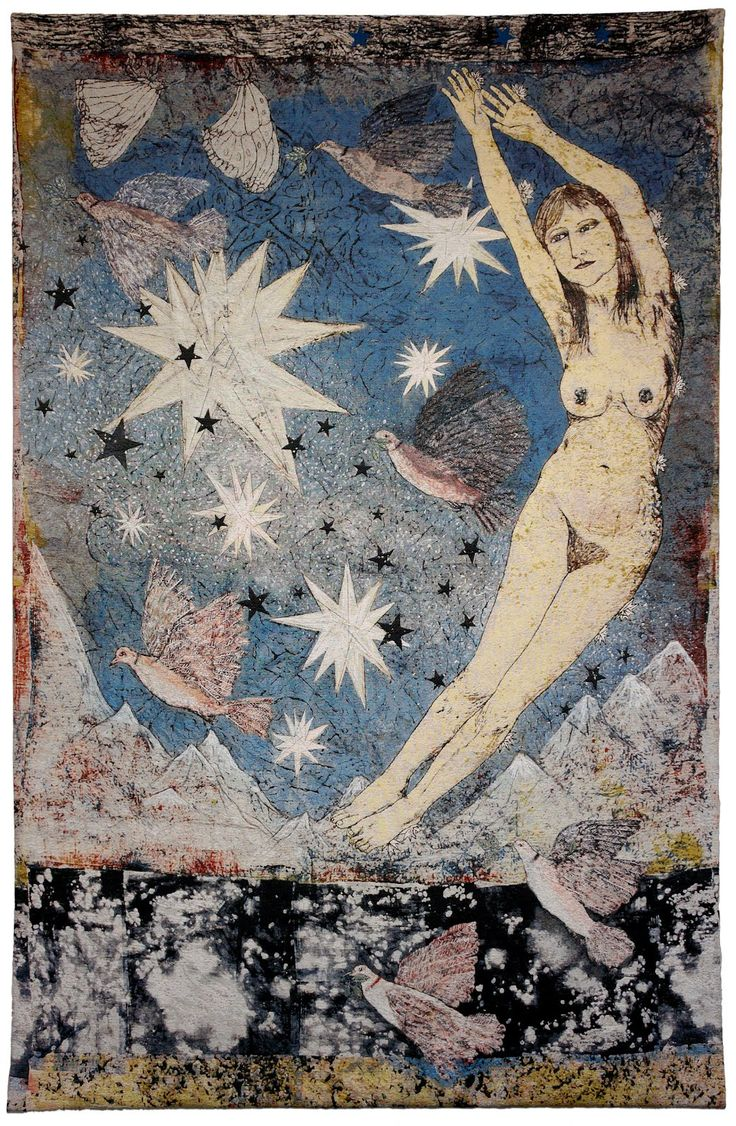 Kiki Smith , Tapestry http://4.bp.blogspot.com/-t5YqFR0E4I0/UCRB85KyiEI/AAAAAAAAA2o/-rCYgjL7LsY/s1600/Kiki-Sky-Final.jpg -repinned by http://LinusGallery.com #art #artists #contemporaryart