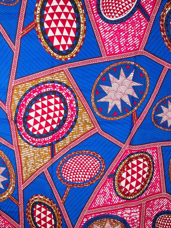 Royal Blue Pink African Fabric 6 Yards Super Wax by Africanpremier, $29.99